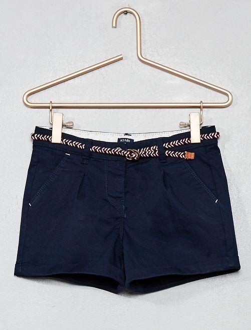Pantaloncini tinta unita + cintura intrecciata                                                                                                                 blu Infanzia bambina