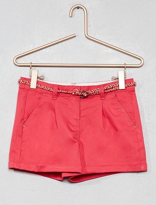 Pantaloncini tinta unita + cintura intrecciata                                                                                                                 rosa Infanzia bambina