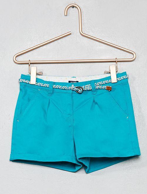 Pantaloncini tinta unita + cintura intrecciata                                                     VERDE
