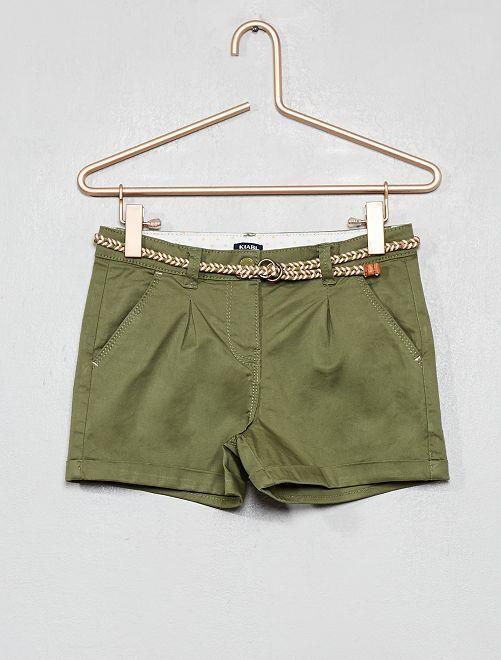Pantaloncini tinta unita + cintura intrecciata                                                                                                                 verde licheno Infanzia bambina