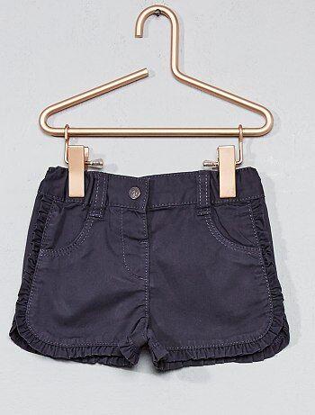 Pantaloncini twill bordi con volant - Kiabi