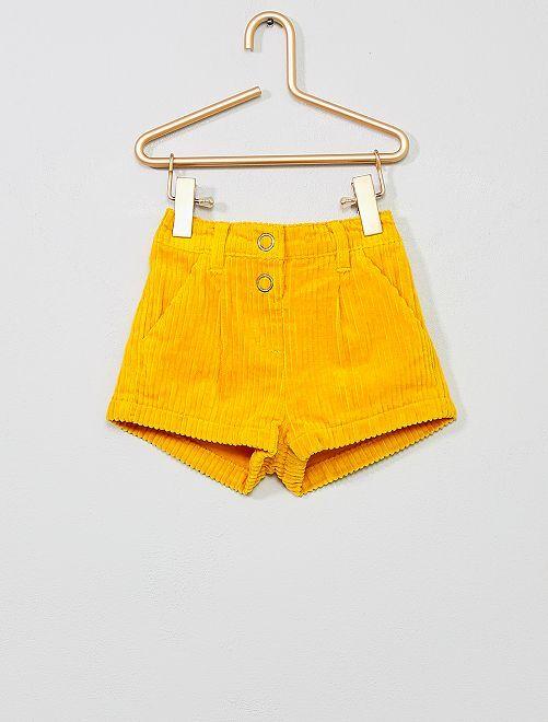 Pantaloncini velluto a coste                             GIALLO Neonato