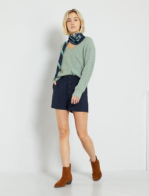 Pantaloncini vita alta abbottonata                             blu