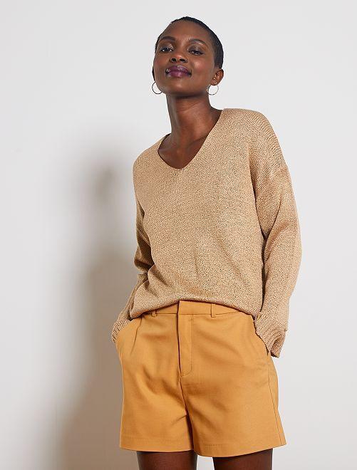 Pantaloncini vita alta                                                                                             beige cannella