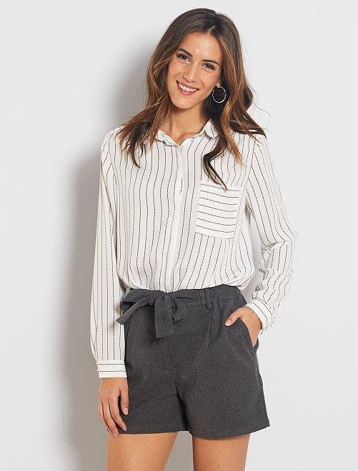 Pantaloncini vita alta con cintura                                         grigio screziato