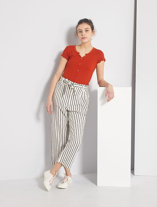 Pantalone in lino a righe                             NERO