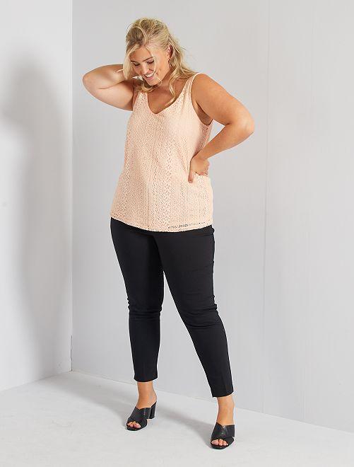 Pantaloni 7/8 raso di cotone                                         nero Taglie forti donna