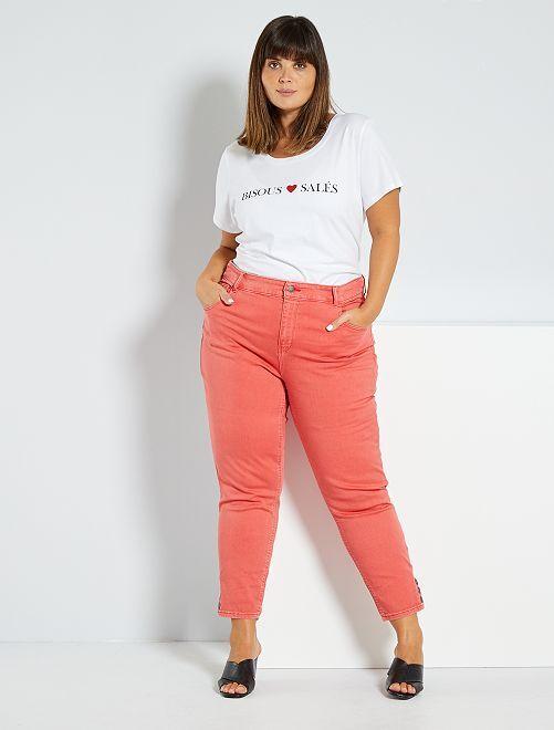 Pantaloni a pinocchietto con bottoni                                 rosa arancione