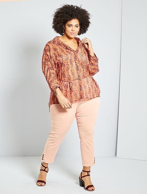Pantaloni a pinocchietto con bottoni                                                                 ROSA