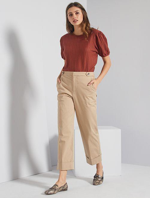 Pantaloni a pinocchietto con risvolto                                                                 BEIGE