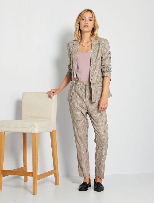Pantaloni a quadri eco-sostenibile                             MARRONE