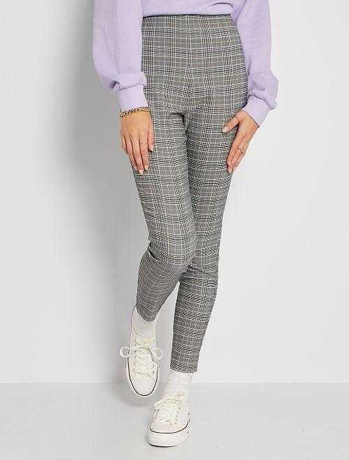 Pantaloni a quadri                             GRIGIO