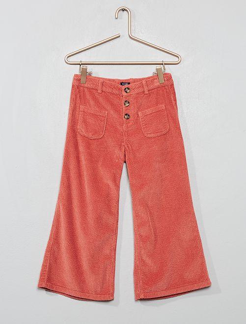 Pantaloni a trombetta velluto 7/8                                         rosa antico