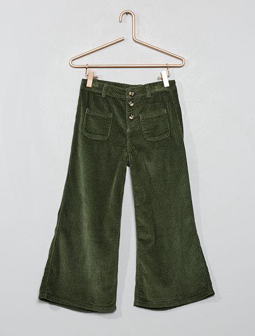 Pantaloni a trombetta velluto 7/8                                          verde timo