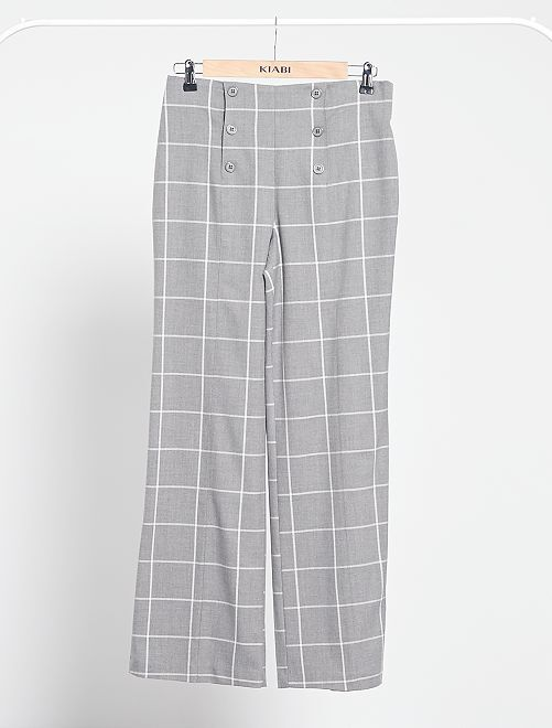 Pantaloni a vita alta a quadri                             grigio a quadri