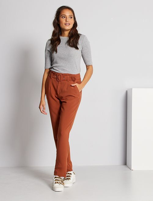 Pantaloni a vita alta eleganti                                                     MARRONE