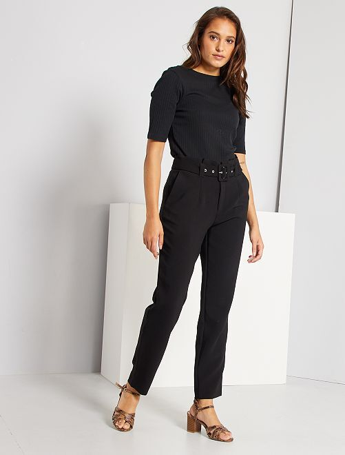 Pantaloni a vita alta eleganti                                                     nero
