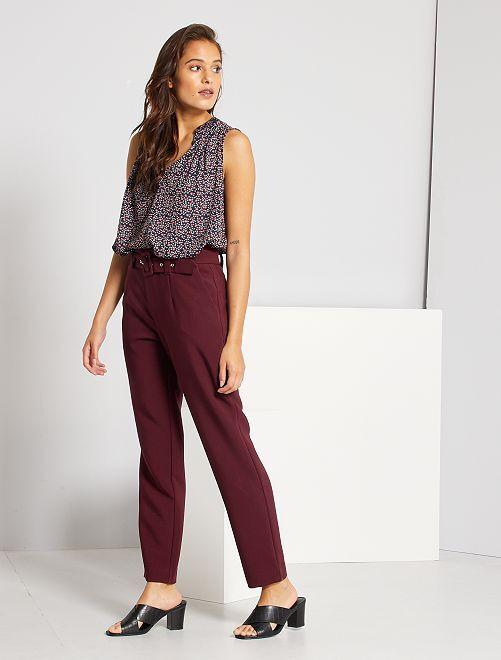 Pantaloni a vita alta eleganti                                                     rosso