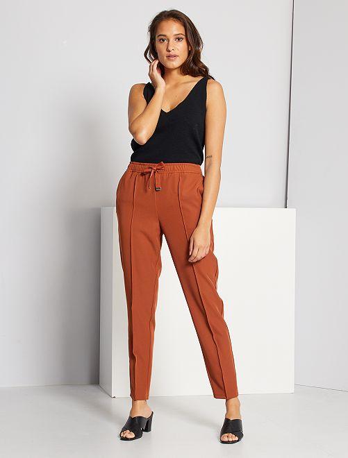 Pantaloni a vita alta                                                     MARRONE