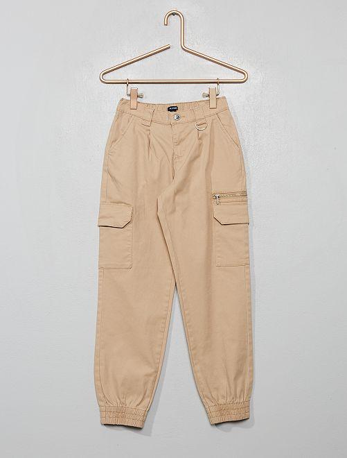Pantaloni cargo in twill                                                                             BEIGE