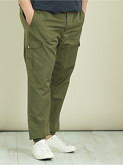 Taglie forti Uomo - Pantaloni cargo lino e cotone - Kiabi