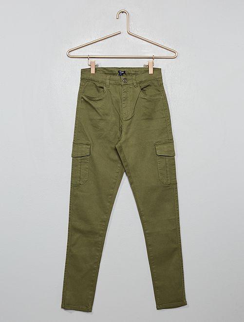 Pantaloni cargo skinny                                         verde licheno