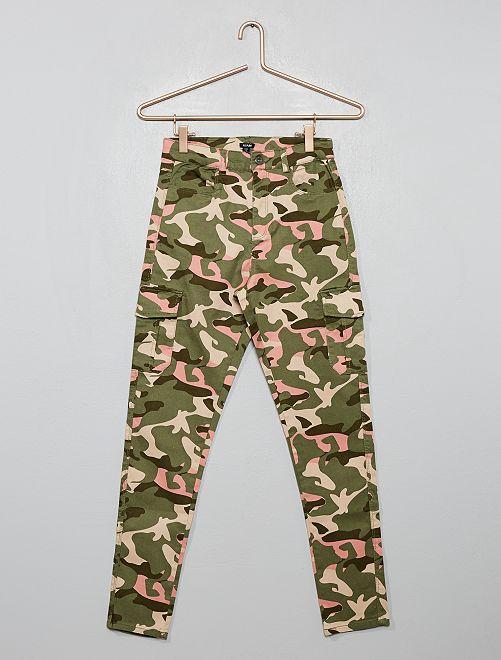 Pantaloni cargo skinny                                         VERDE