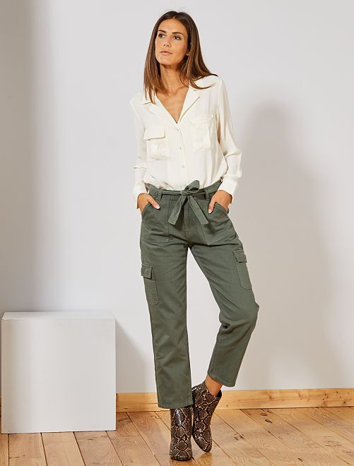 Pantaloni cargo                              verde timo