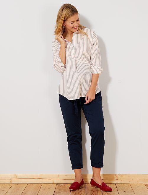 Pantaloni chino + cintura                             blu Donna