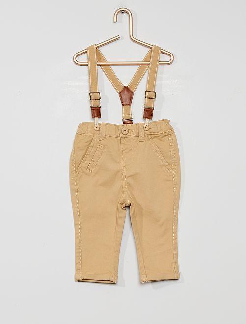 Pantaloni chino con bretelle eco-sostenibili                                                                 BEIGE