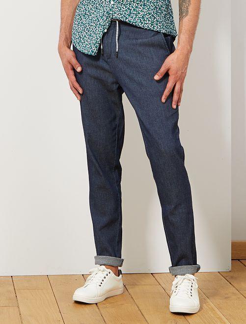 Pantaloni chino cordoncino                             BLU Uomo