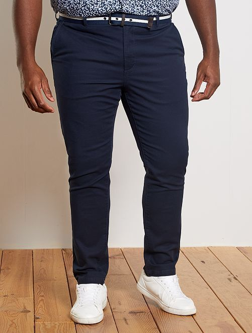 Pantaloni chino fitted + cintura                                         BLU