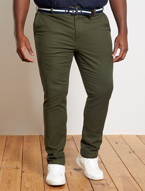 Pantaloni chino fitted + cintura                                         KAKI