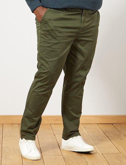 Pantaloni chino fitted spina di pesce                              verde timo