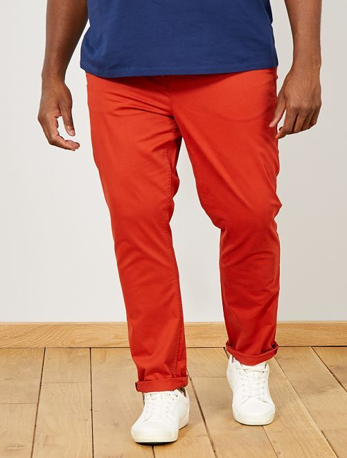 Pantaloni chino fitted twill stretch                                                                                                     arancio ketchup Taglie forti uomo