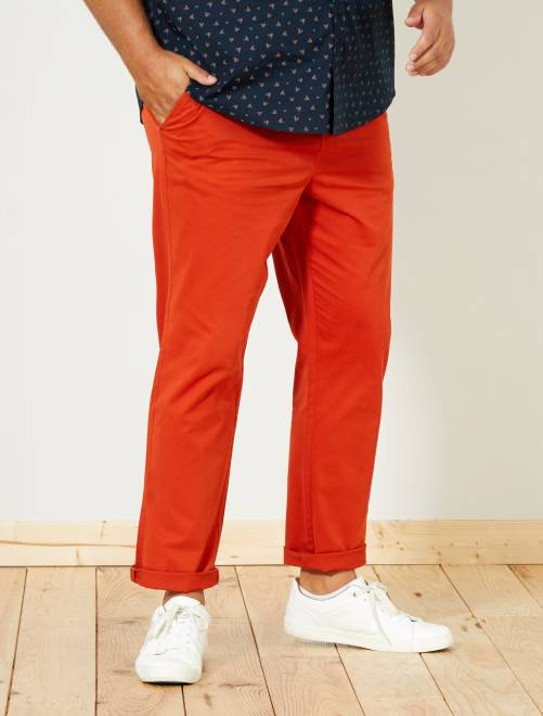 Pantaloni chino fitted twill stretch                                                                                                     ARANCIONE Taglie forti uomo