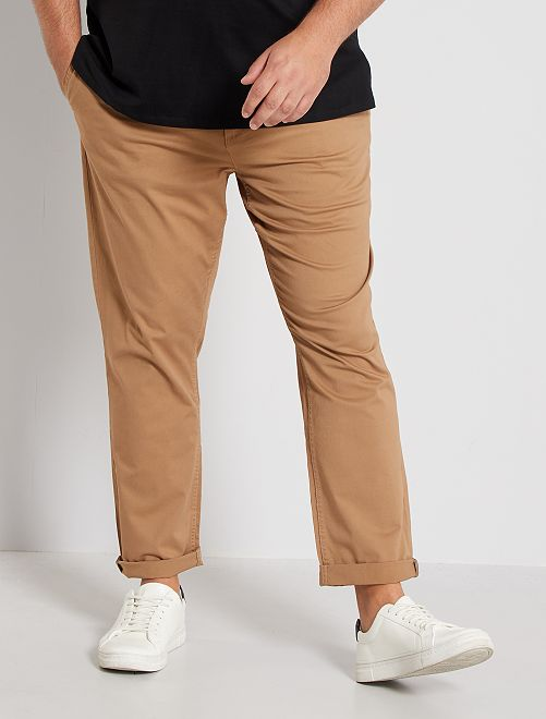 Pantaloni chino fitted twill stretch                                                                                                     BEIGE Taglie forti uomo