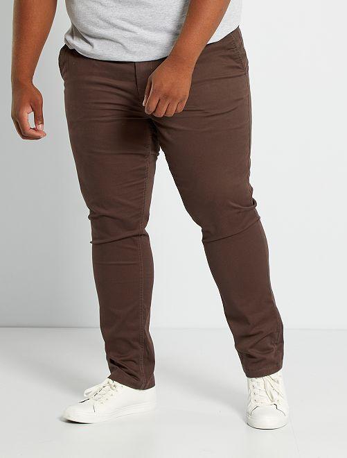 Pantaloni chino fitted twill stretch                                                                                                     marrone scuro