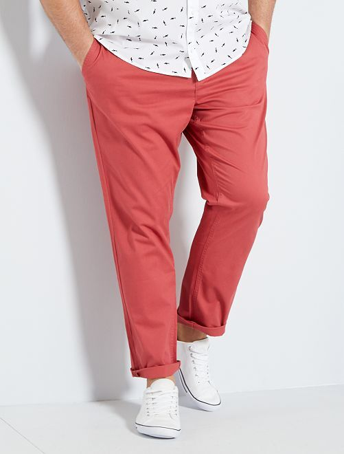 Pantaloni chino fitted twill stretch                                                                             rosso granata