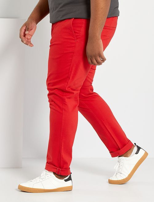 Pantaloni chino fitted twill stretch                                                                                                     rosso pompiere