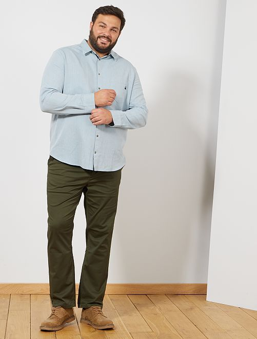 Pantaloni chino fitted twill stretch                                                                                                     verde selva