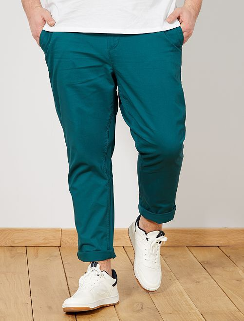 Pantaloni chino fitted twill stretch Taglie forti uomo - verde ... 18a2665a0cf