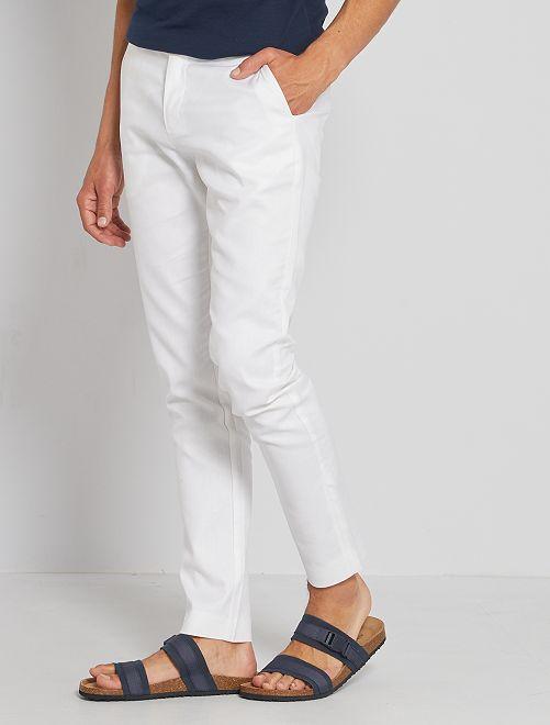 Pantaloni chino lino e cotone                                         bianco