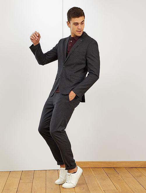 Pantaloni chino mini 'pied de poule'                             GRIGIO