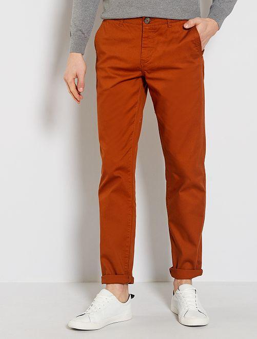 Pantaloni chino regular maglia piqué                                                                                                                             ARANCIONE