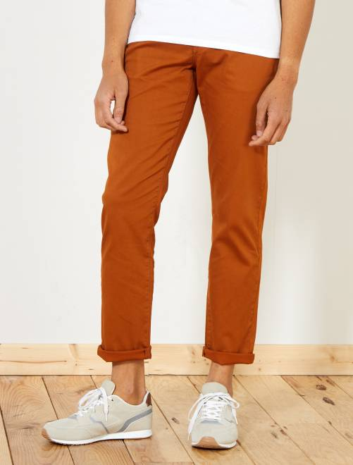 Pantaloni chino regular maglia piqué                                                                             ARANCIONE Uomo