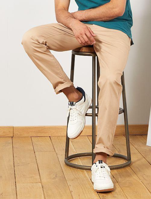 Pantaloni chino regular maglia piqué                                                                             BEIGE Uomo