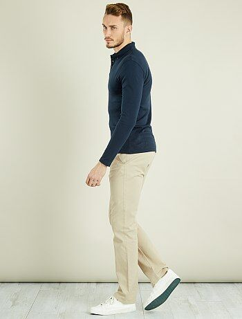 Taglie forti Uomo - Pantaloni chino regular puro cotone L36 + 1 m 90 - Kiabi