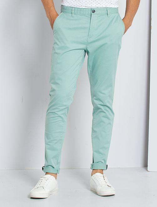 Pantaloni chino skinny L30 eco-sostenibili                                                                                                                                                                                         verde grigio