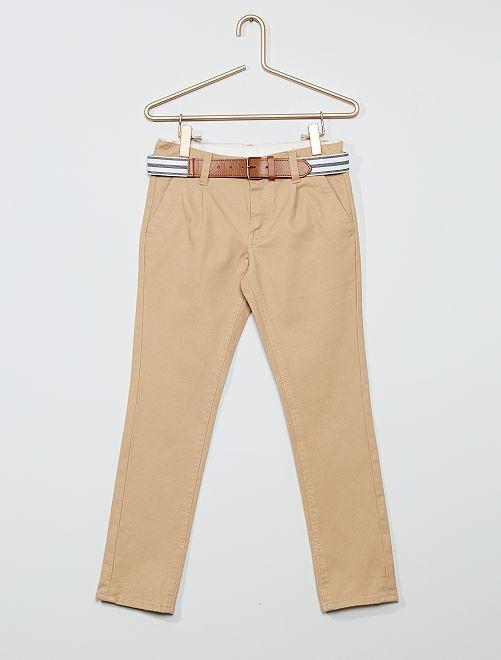 Pantaloni chino slim + cintura a righe                                                                             BEIGE